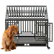 44 Heavy Duty Steel Dog Cage Crate Kennel W/ 4 Wheels For Large Dogs Playpen Xl