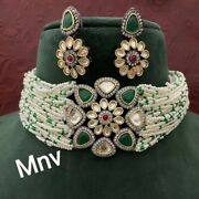 New Collection Bollywood Indian Gold Plated Kundan Choker Necklace Cz Bridal Set