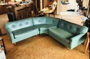 Vintage turquoise Mid Century Sofa Couch Sectional naugahyde Retro Modern