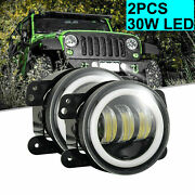 Combo 7inch Rgb Halo Drl Headlight + 4inch Led Driving Fog Light For Jeep Best