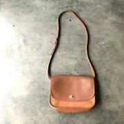 60s70s Made In Usa Old Game Plain Genuine Leather Shoulder Bag Retro