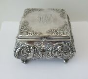 Vintage Pairpoint Quadruple Plate Silver Bombay Footed Jewelry Boxrepousse