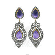 Natural Amethyst Diamond 925 Sterling Silver Earring Boho Antique Jewelry
