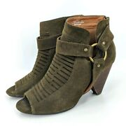 Cato Ankle Harness Booties 8 Us Wide Width Womens Army Green Cone Heel Peep Toe