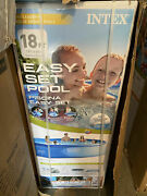 New Intex 18ft X 48in Easy Set Pool Set With Filter Pump Ladder Cloth And Cover