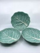 Majolica Style Set Of 3 Cabbage Leaf 8 Bowls From Maxcera Collection