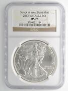 2013 W American Eagle Silver 1 Us Coin Ngc Ms70 First Strike West Point Mint