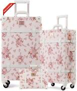 Unitravel 3 Piece Vintage Luggage Set Floral Pink Suitcase With Tsa Lock For Wom