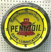 16 Pennzoil Safe Lubrication Sign Single Neon Clock Gas Station Oil Lube Grease