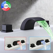 Led Widespread Bathroom Sink Faucet 8 In Basin 3 Holes Black Waterfall Mixer Tap