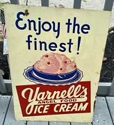 Vintage Advertising Yarnelland039s Ice Cream Dbl. Sided Sign Store Soda Fountain 157q