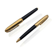 Authentic Gold Plated And Black Lacquer Louis Pen Set