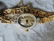 Vintage Antique Ladies 14k Omega Gold Nugget Wrist Watch With Diamonds