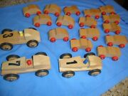Rare 18 Lot Dippon 1960s Vintage Vw Germany Toy Wooden Wood Race Car And 3 Drivers