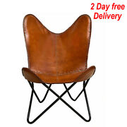 Handmade Leather Chair Butterfly Vintage Brown Home Living Room Relax Furniture