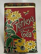 Vintage Tetley's Tea Tin.deep Red With Gold And Green Sunflower Trim On The Lid.