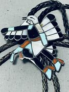 Huge Dancing Kachina Vintage Zuni Turquoise Coral Sterling Silver Bolo Tie