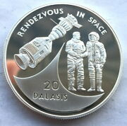 Gambia 1993 Rendezvous In Space 20 Dalasi Silver Coin,proof