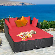 Patiojoy Outdoor Patio Rattan Daybed Furniture Thick Pillows Cushioned Sofa Red