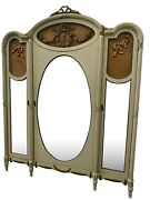 Painted French Armoire Three Mirrored Doors 1920and039s Storage Wardrobe