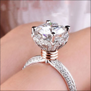 4 Ct Floral Round Cut Moissanite Solitaire Engagement Ring 14k White Gold Finish