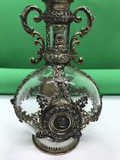 Antique 19th C German Hanau Solid Silver Mounted Glass Whiskey Decanter Bottle