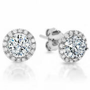 1.3ct Round Halo Studs Natural Vs1 Conflict Free Diamond 18k White Gold Earrings