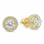 1.3ct Round Halo Studs Real Vs1 Conflict Free Diamond 18k Yellow Gold Earrings