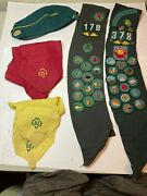 Vintage Girl Scout Sash Badges Pins Patches Scarfs/ Ties Hat 1960s