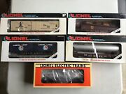 Lionel O-gauge, Lot Of 5 Mixed Rolling Stock Cars Boxed Excellent
