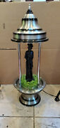 Vintage 1960and039s Fox Silver Oil Rain Lamp With Black Greek Goddess 32 Table Model