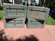 4 - The Medicine Box Antique Trunk 1945 Navy Red Cross Medical Storage Chest