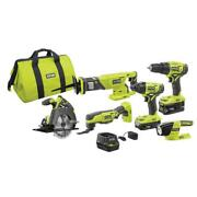 Ryobi Combo Kit Best 6 Tool Set Cordless Saw Driver Drill Battery Charger Bits