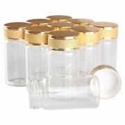 24 Pieces Spice Jars Container Frosted Caps Perfume Bottles Glass Transparent