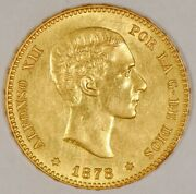 1878 Spain 25 Pesetas Gold Coin For Alfonso Xii Madrid Mint