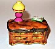 Limoges Box - 'wooden' Dresser And Hurricane Lamp - Book And Flowers - Skeleton Key