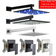Led Rainfall Shower Head Combo Kit 1-function Shower Faucet Set With Mixer Valve