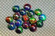 9x9 Mm Natural Ethiopian Black Opal Round Cabochon Aaa Fire Opal Loose Gemstone