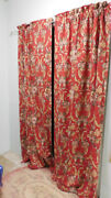 Vintage Marseilles Lined Drapes Pair Red Pink Roses Scrolls Cotton