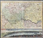 1741 Large Antique Map And View London And Environs By Homann Regionis Londinum Lm7