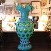 Fenton Green Coin Dot Antique Glass From The 1940s To The 1950s Vase