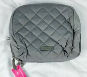 Vera Bradley Iconic Lay Flat Cosmetic Tranquil Gray Makeup Bag Case Travel New