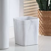 Better Homes And Gardens 2 Gallon Faux Marble Wastebasket Office Home Decor White