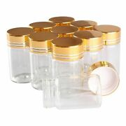 24 Pieces Spice Jars Bottle Glass Perfume Empty Golden Frosted Caps Transparent