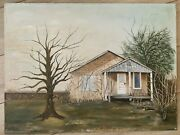 1983 Helen Brimhall Signed Painting Old Primitive Country Farm House W Trees