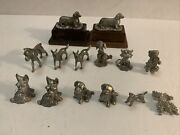 Poodle, Boxer, Dachshund, German Dogs Lot Of 14 Pewter Miniature Figurines Vtg