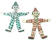 Vintage Premium Cracker Jack Prize Toy Tin Litho Clown Teal And Red Lot Of 2