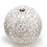 Disco Bead 18k White Gold Finding 2.4ct Genuine Diamond Pave Ball Spacer Jewelry