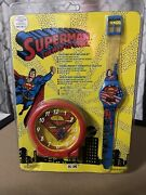 Superman The Man Of Steel Collectible Clock And Watch 1994 Sealed