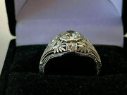 Antique Late Art Deco Engagement Vintage Ring 14k White Gold Over 1.8 Ct Diamond